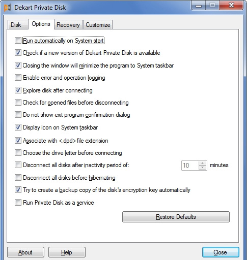 Phần mềm Dekart Private Disk