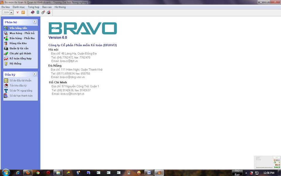 Phần mềm kế toán Bravo.