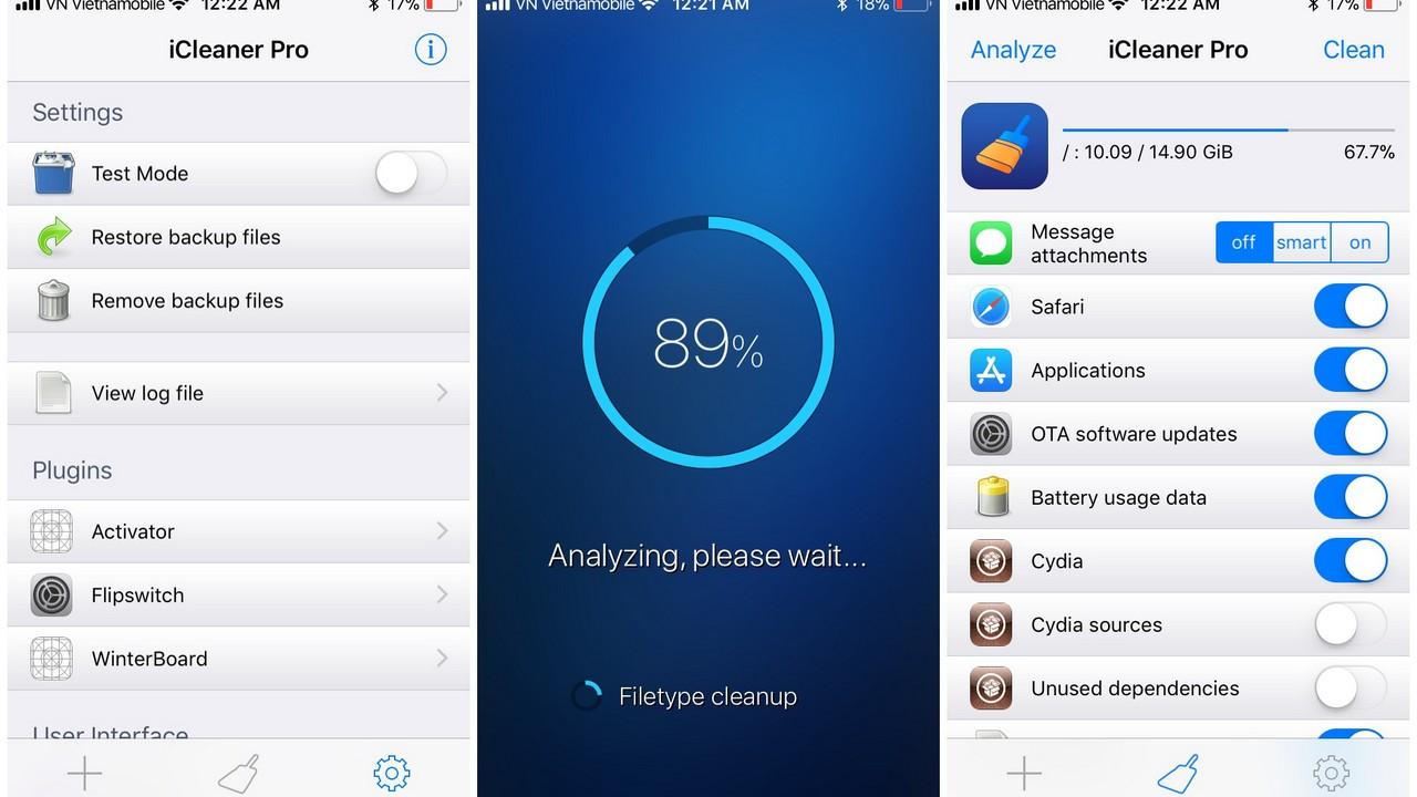 Đã có iCleaner Pro Beta cho iOS 11 -- Ứng dụng dọn rác siêu hay - Trick to  plays game