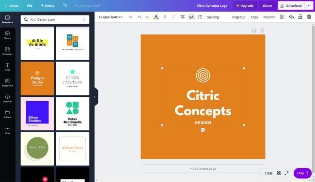Phần mềm thiết kế Logo Canva
